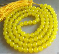Wholesale Silver Jade Buddha Pendants - Vintage asia Tibetan 108 Golden Jade Prayer Buddha Bead Necklace 8mm