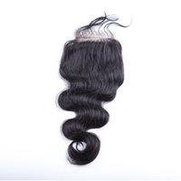 Wholesale Low Prices Malaysian Hair - Lowest Price! Brazilian body wave Human Hair Cheap 4x4 Top Lace Closures Pieces With Bleached Knots Free Middle three Part Stock