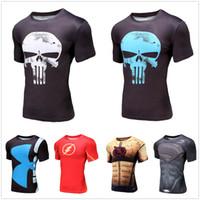 Wholesale Wholesale Batman T Shirts - Best-selling Men's Short Sleeve T-shirt 3D Print Marvel Super Heroes Avenger Captain America Batman Sport Fashion Style Compression Tops Tee
