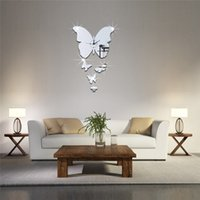 Wholesale Stick Mirror Decorations - Acrylic 3D mirror wall stickers clock Creative Home Decor DIY five butterfly Carved bedroom Removable Decoration Stickers 2017 wholesale