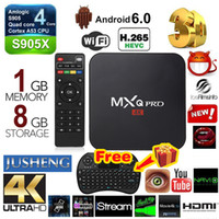 Mini-teclado sem fio gratuito MXQ Pro 4K Android Smart TV BOX Amlogic S905X Chipset Android 6.0 Quad Core 1G / 8G 4K Streaming Media Player