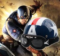 yarım yüz yaz kaskı toptan satış-2017 Yeni Yaz Vintage Motosiklet Kaskları Unisex Açık Yüz Yarım Motosiklet Kask Gözlük Amerika Yıldız Capacete