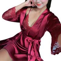 Wholesale women s sheer robes - Wholesale- Women Sexy Lingerie Dress Underwear Lace Sheer Long Night Dress Sleepwear Robe TQ