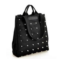 Wholesale Girl S Handbags - anime Fashion Unique Punk Rivet Canvas Women Top-Handle s Girl Handbags Tote Bags Ladies Shoulder Bag Black Shopper Bag Bolsas