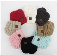 Wholesale Wholesale Wool Skully Hats - New baby Rushed Special Solid kids Gorro Chucky Stretch Cable Knit Slouch children cc Beanie Skully Ski Hat 8 colors