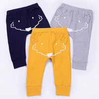 Wholesale Baby Boy Trouser Grey - 2017 Fashion Cartoon Baby Harem Pants Fox Printed Pure Cotton Kids Clothes Pants Hot Infant Boy Casual Trouser Yellow Grey Navy A7121
