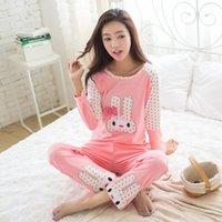 Wholesale Rabbit Pyjamas - Wholesale- LIKEPINK 2017 Spring Pyjamas Women Pijamas Mujer Cartoon Lovely Rabbit Pajamas Sets Femme Long Sleeve Sleepwear Female Homewear