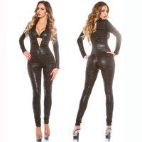 Wholesale Tiger Jumpsuit Woman - Catwoman Sexy PVC Spandex Superhero Tiger pattern Racing car Clubwear Party Costume Catsuit Jumpsuit Fancy Dress X6726 MXLXXL