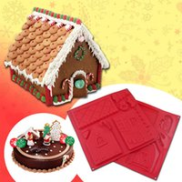 Wholesale Biscuit Moulds - Chocolate Mould Gingerbread House Cookie Mold Easy Silicone Festival Christmas And Chocolate Biscuit Baking Molds kit Creative mould