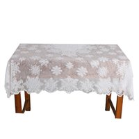 Wholesale Wholesale Lace Round Tablecloths - Wholesale-Christmas Snowflake table clothes white Lace Tablecloths Happy Xmas Festival Event Table Round Clothes Table Overlay QB880026