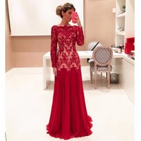 Wholesale Chiffon Beaded Straps Gown Bride - 2017 Evening Dresses Long Sleeves Evening Gowns Cheap Mother of the Bride Dresses Sheer Bateau Chiffon Lace Formal Dresses Evening Wear