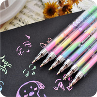 Wholesale 4Pcs Cute in Color refill Rainbow Highlighters Pen Marker Stationery Colorful Painting Stationery Writing Pen