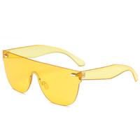 Wholesale Top Frameless Glasses - Men's frameless sunglasses Fashion Women Sunglasses flat top Shades Designer Sun glasses Candy Color Women's Siamese glasses