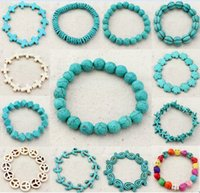 Wholesale Silver Turquoise Jewelry Box - Fashion Natural Organic Stone Strand Bracelet Amethyst Quartz Opal Sandstone Turquoise Beads Jewelry Gifts For Girl