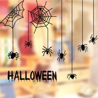 Wholesale Sticker 52 - CH-52 Happy Halloween Spider in a Web Wall Art Sticker Decal Home DIY Xmas Decoration Decor Wall Mural Removable Bedroom