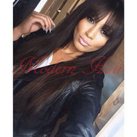 Wholesale D Bang - Synthetic Full Lace Wig Heat Resistant Hair For Black Women &Long Silky Straight Black Synthetic None Lace Wig With full bangs Have straps