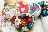 Wholesale Mini Heart Toy - Cute Floral Hearts Zipper Mini Coin Purse Pouch Small Change Wallet Little Promotional Gifts Children Kids Girls Toy Purse