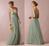 Wholesale Sea Green Long Dresses - Long A Line Bridesmaids Dresses Cheap Juliette Tulle Evening Lace Top Sea Glass Sweetheart Formal Party Dress Special Occasion Gowns 00578