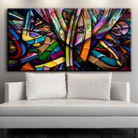 diseños de pintura para dormitorios al por mayor-ZZ1045 lienzo moderno abstracto arte colorido diseño lienzo cuadros óleo pintura para sala de estar decoración del dormitorio sin marco