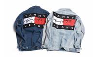 Wholesale Denim Jacket Men Print - tom brand couple denim jacket KANYE WEST tour ma-1 flight jacket kanji army Japanese Merch bomber men jacket