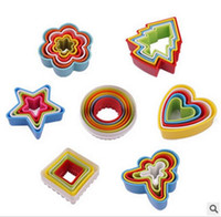 Wholesale heart shape cutters - New Cookies cutter set slicer frame cake diy mold heart shape decor edge cutter party plastic cookies maker kitchen accessories