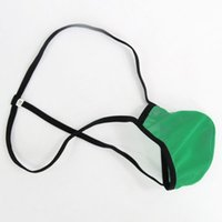 Wholesale Men S C String Underwear - Mens Pouch String Thong Bulge Enhancer Low Rise T Back Mesh Semi- C-thru G1790 mens fun underwear
