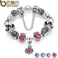 Wholesale Tibet Silver Flower Bracelet - Pandora Style Silver Original Glass Bead Bracelet for Women With Safety Chain Rhinestone Strand Pulseras Luxury PA1836