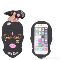 Wholesale Skull Cover Case - For iPhone X Skull Grimace Mask Silicone Case Black Cover For iPhone 6 6s 7 8 Plus Samsung S8 Plus S7 Edge J510 G530 Opp Bag