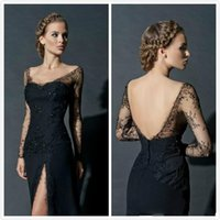 Wholesale Tailor Made Evening Gowns - New Long Sleeve Split Leg Tulel Backless Evening Dresses Prom Gowns 2017 Tailor Made First Class Formal Gowns