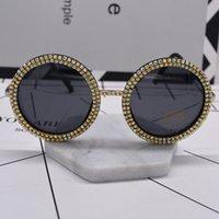 Wholesale Resin Baroque - new women fashion sunglass crystal shining oversize baroque sunglasses black full frame big round sun glasses beach outdoor accessories