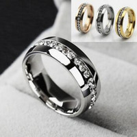Wholesale Mens Sh - luxury Fashion rings Stainless Steel Crystal Wedding Rings For Women Men Top Quality Gold Plated mens ring jewelry gold silver black free sh