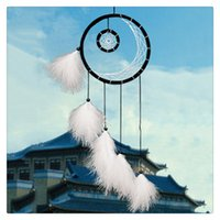 Wholesale Hanging Chimes - 2017 New Dream Catcher Hanging With Feathers Car Wall Hanging Art Wind Chime Hanging Home Decor Decoration American Indian Wedding Jewelry