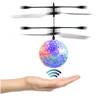 Wholesale remote control helicopter children - Kid and Boy Toys RC Flying Ball Infrared Induction Helicopter Ball With Rainbow LED Lights Remote Control For Children Flying Toys HH-T56