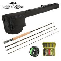 Wholesale Lure Rods Reels - 4 Section Fly Fishing Rod Reel Combo Full Kit Carbon Fiber Fishing Rod 2+1BB Fish Wheel Line Lure Set With Fishing Bag Pesca