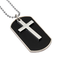 Wholesale Military Pendant For Men - Fashion Design Jewelry Charms Mens Cross Dog Tag Pendant Necklaces For Men Military Card 27inch Beads Chain Hip Hop Men Necklace
