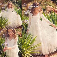 Wholesale Purple Dress Girl Age - Vintage Flower Girl Dresses Long Sleeves Modern Cheap Full Lace Pageant Gowns Age 14 A Line White Girls Dress