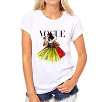 Wholesale Princess Vogue - Wholesale-PH Brand clothing t shirt women Tattoo Vogue Princess Print Cotton Casual Shirt For Lady White Top Tee Hipster Big Size