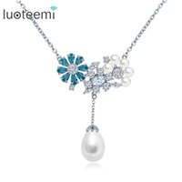 Wholesale Pearl Necklace For Flower Girls - LUOTEEMI Newest Charming Jewelry CZ Flower with Tear Drop Pearl Pendant White Gold-Color Necklace for Girls Party Accessories