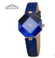 Wholesale Rhombus Glass - 2017 Fashion 3D Rhombus Women Watches Luxury Diamond Ladies Watch Women Hour Leather Quartz Clock relogio feminino reloj mujer