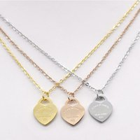 Wholesale clasp for stainless steel necklace resale online - Titanium Heart Pendant L stainless steel necklace Please return to New York Letter Charms Wedding Jewelry for Women