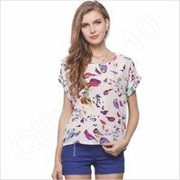 Wholesale T Shirt Birds Women - Women's Chiffon T-shirts Women Short Loose Casual Crew Neck Female Stripes BohemianT Shirt Bird Printing Tees Women Clothes RRA11