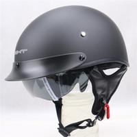 Wholesale Helmet Half Dot - Hot Sale Vintage Open Face Motorcycle Helmet Bike Harley Retro Half Face Helmets Casque Moto With Inner Sun Visor DOT Approved