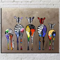 Wholesale zebra wall decorations - Hand Painted Abstract Andy Warhol pop art painting Zebra Wall Art animal Oil Painting Home Living Room Decoration cartoon picture