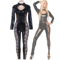 Wholesale Ladies Sexy Costume Pattern - Patchwork Sexy Black Faux Leather Jumpsuit Long One Piece Set Pattern Floral Ladies Romper Newly Sexy Lace JumpSuit