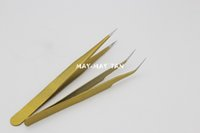 Wholesale Stainless Curved Tweezers - Wholesale-2pcs Lot Professional Quality Curved+ Straight Tweezers Stainless Steel False Eyelashes Extension Makeup Tools Gold Tweezer
