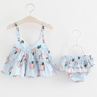Wholesale Baby Girl Year Outfits - Baby Girls Applel Braces Top+Pants Outfits 2017 Summer Kids Boutique Clothing 1-4 Years Old Little Girls Short Braces Dresses 2 PC Set