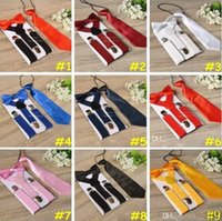Wholesale Bowtie Suspenders - Children Suspenders 3pcs Set Kids Student Braces bow tie Set Bowtie Toddler Solid Color Cloth Set For Boys Girls