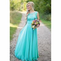robes de vestiaire aquatiques achat en gros de-Robes de demoiselle d'honneur bleu aqua paillettes mousseline de soie robe de mariage pour invités de soirée