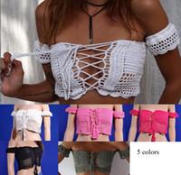 Discount white cashmere top - Sexy Knitted Crochet White Crop Tops Bikini Beachwear 90's Girls Casual Lace Up Off Shoulder Bikini Bra Tank Top Cropped