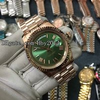 Wholesale Mechanical Wrist Watches For Men - New Luxury brand Green Automatic mechanical watches for mens Rose gold Strap Men wristwatches AAA quality Sapphire Male Day-Date wrist watch